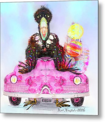 Kitty Car Crow Metal Print