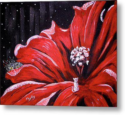 Metal Print featuring the painting Kitty Flower by Phyllis Kaltenbach