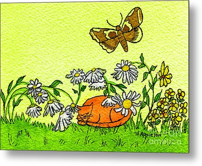 Kitty In The Garden Metal Print by Norma Appleton