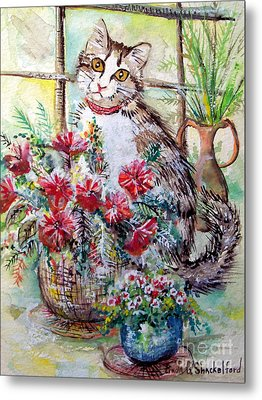 Kitty In The Window Metal Print by Linda Shackelford