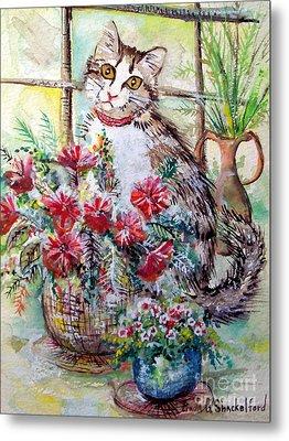 Kitty In The Window Metal Print