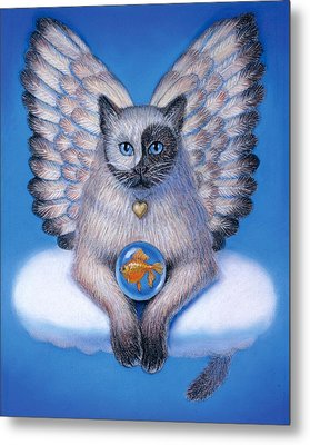 Kitty Yin Yang- Cat Angel Metal Print
