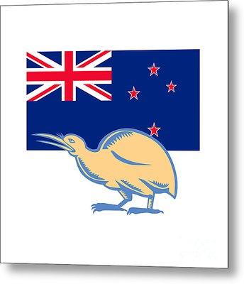 Kiwi Bird Nz Flag Woodcut Metal Print