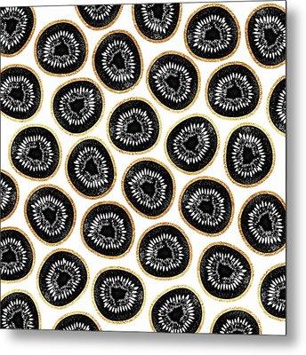 Kiwi Pattern Metal Print by Elisabeth Fredriksson