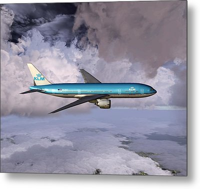 Klm Boeing 777 Metal Print by Mike Ray
