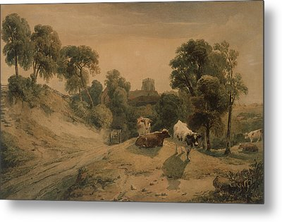 Kneeton On The Hill Metal Print by Peter de Wint