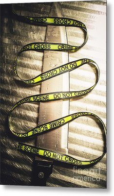 Knife With Crime Scene Ribbon On Metal Surface Metal Print by Jorgo Photography - Wall Art Gallery
