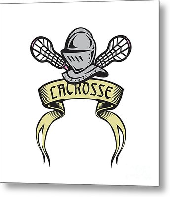 Knight Armor Lacrosse Stick Woodcut Metal Print