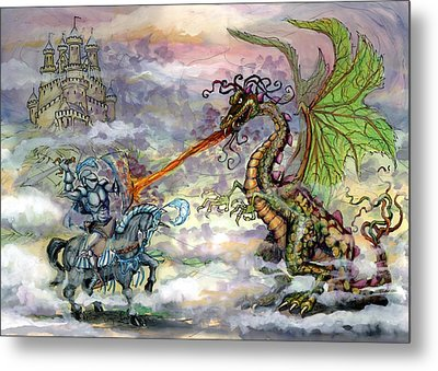 Knights N Dragons Metal Print