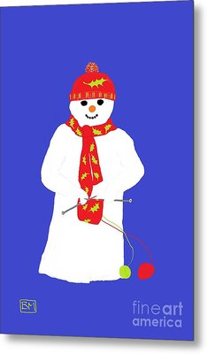 Knitting Snowman Metal Print by Barbara Moignard