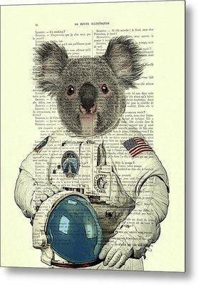 Koala In Space Illustration Metal Print