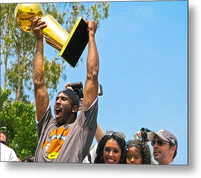 Kobe And The Trophy Metal Print by Carl Jackson