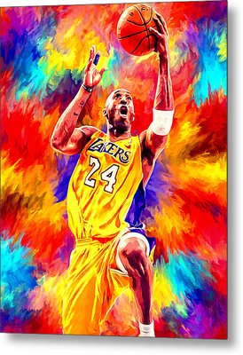 Kobe Bryant Basketball Art Portrait Painting Metal Print by Andres Ramos