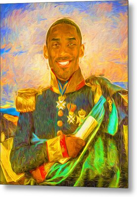 Kobe Bryant Floor General Digital Painting La Lakers Metal Print by David Haskett