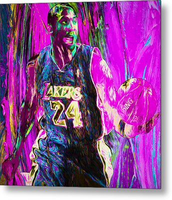 Kobe Bryant La Lakers Digital Painting 3 Metal Print