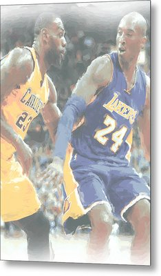 Kobe Bryant Lebron James 2 Metal Print by Joe Hamilton