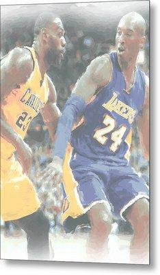 Kobe Bryant Lebron James 2 Metal Print