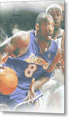 Kobe Bryant Lebron James Metal Print