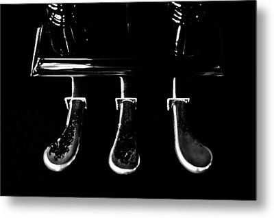 Kohler And Cambell Pedals Black And White Metal Print by Sam Hymas