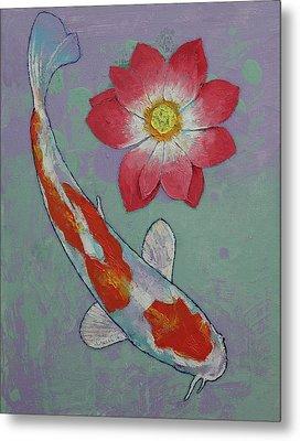 Koi And Lotus Metal Print by Michael Creese