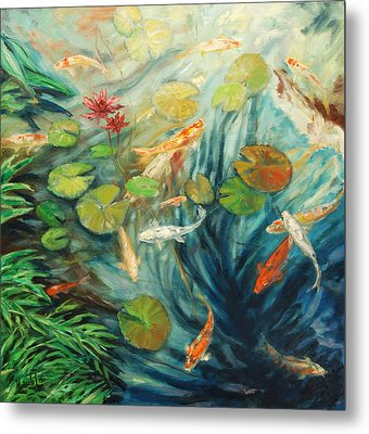 Koi And Palm Metal Print