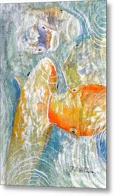 Metal Print featuring the painting Koi Carp Feeding Frenzy by Bill Holkham
