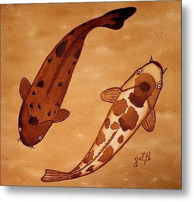 Koi Fish Feng Shui Metal Print by Georgeta  Blanaru