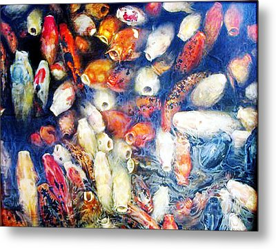 Koi In The Hourglass Metal Print by Riek  Jonker