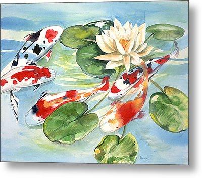 Koi In The Water Lilies Metal Print by Ileana Carreno