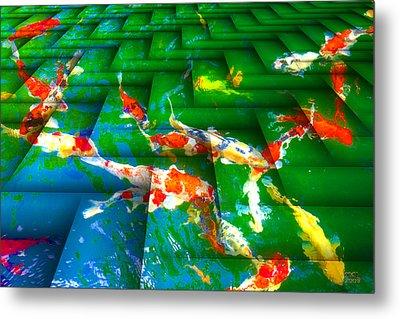 Metal Print featuring the digital art Koi Mosaic I by Manny Lorenzo