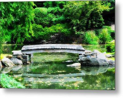 Koi Pond Bridge - Japanese Garden Metal Print by Bill Cannon