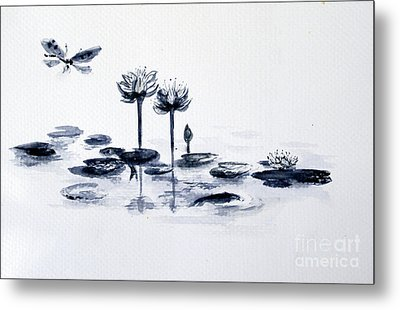 Koi With Waterlilies And Flutterby Metal Print by Sibby S