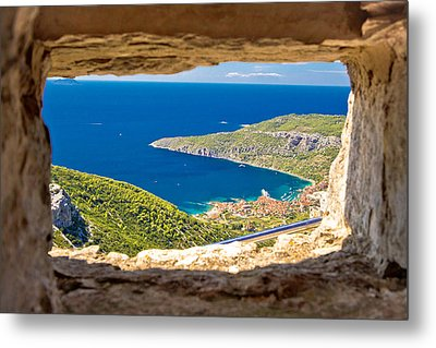 Komiza Bay Aerial View Through Stone Window Metal Print