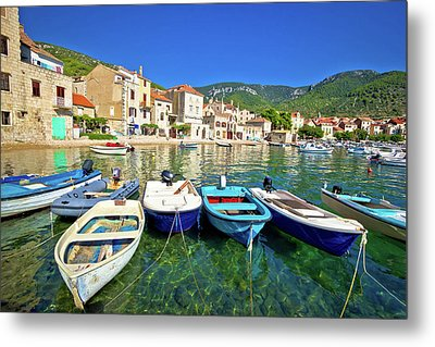 Komiza On Vis Island Turquoise Waterfront Metal Print
