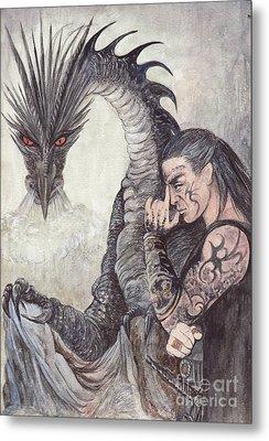 Kor-gat And Black Dragon Metal Print by Morgan Fitzsimons