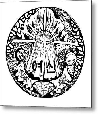 Korean Goddess Black And White Metal Print