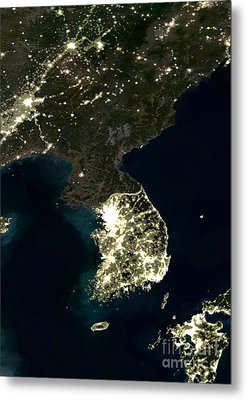Korean Peninsula Metal Print by Planet Observer and SPL and Photo Researchers