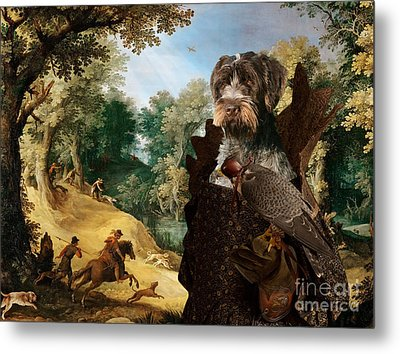 Korthals Pointing Griffon Art Canvas Print - The Hunters And Lady Falconer Metal Print
