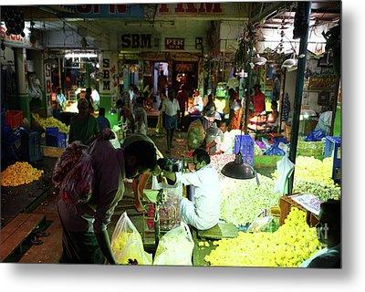 Metal Print featuring the photograph Koyambedu Flower Market Stalls by Mike Reid