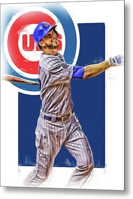 Kris Bryant Chicago Cubs Oil Art Metal Print by Joe Hamilton