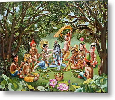 Krishna Eats Lunch With His Friends With No Bordure Metal Print by Dominique Amendola