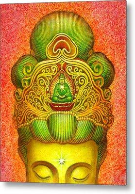 Kuan Yin's Buddha Crown Metal Print by Sue Halstenberg