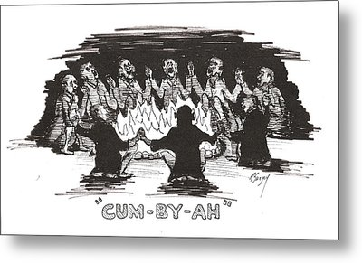 Metal Print featuring the drawing Kumbaya by R  Allen Swezey