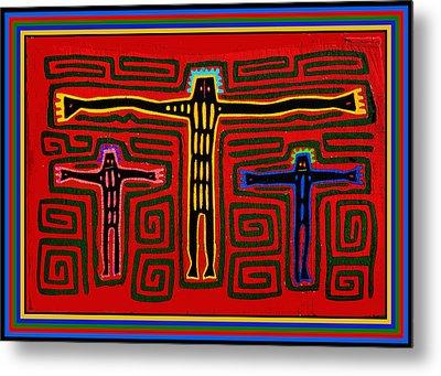 Kuna Indian Folk Art Crucifix Metal Print