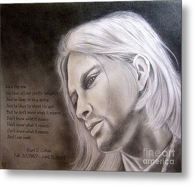 Kurt Cobain Metal Print by Oscar Arauz