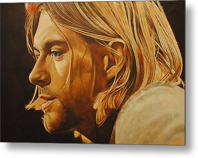 Metal Print featuring the painting Kurt Cobain Unplugged by David Dunne
