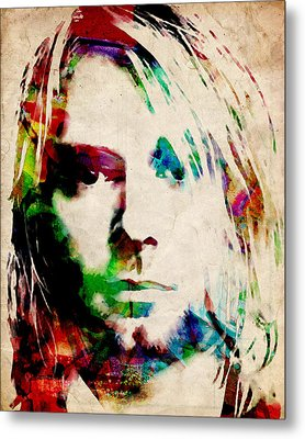 Kurt Cobain Urban Watercolor Metal Print by Michael Tompsett