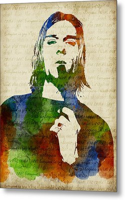 Kurt Cobain Watercolor Metal Print