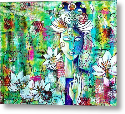 Metal Print featuring the painting Kwan Yin by Julie Hoyle