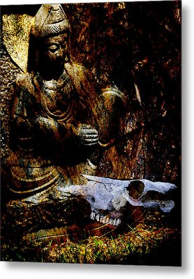 Kwan Yin Meditates Metal Print by Ann Tracy
